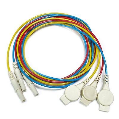 3er-Set Elektrodenkabel, 100 cm - rot, gelb und blau - mit Druckknopf-Adapter