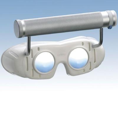 Nystagmusbrille nach Dr. Blessing Typ 523 fest montierter regelbarer Batteriegriff oben