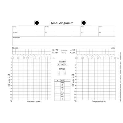 Audiogrammvordrucke Maico KS5, Block mit 100 Blatt, beidseitig bedruckt