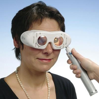 Nystagmusbrille nach Dr. Blessing Typ 723 variabel: mit regelbarem Batteriegriff