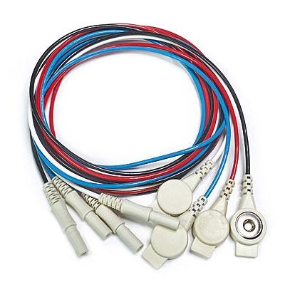 4er-Set Elektrodenkabel, 100 cm - blau, schwarz, rot, weiß - mit Druckknopf-Adapter