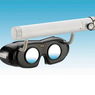LED-Nystagmusbrille Typ 803 mit Batteriegriff oben, Farbe: schwarz