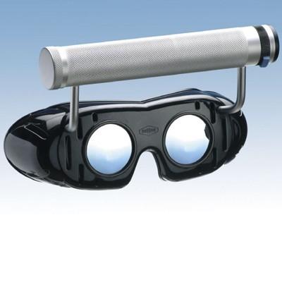 Nystagmusbrille nach Prof. Frenzel, Typ 503 fest montierter regelbarer Batteriegriff oben