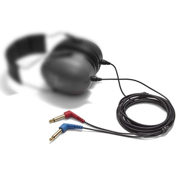 Ersatzkabel 30 Grad, 2x 6,3 mm vergoldete Mono-Klinkenstecker für Radioear Schallschutzkappen