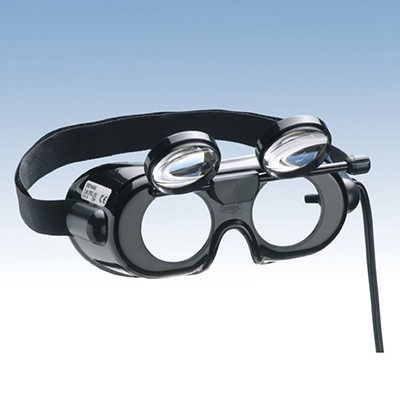 Nystagmusbrille nach Prof. Frenzel, Typ 502 mit klappbaren Gläsern und Anschlusskabel