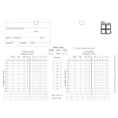 Audiogrammvordrucke Zeisberg KA450, Block mit 100 Blatt, beidseitig bedruckt