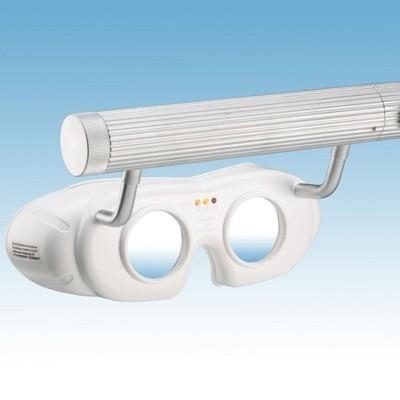LED-Nystagmusbrille Typ 823 mit Batteriegriff oben, Farbe: weiß